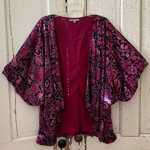 New York & Co black and pink open front jacket XL